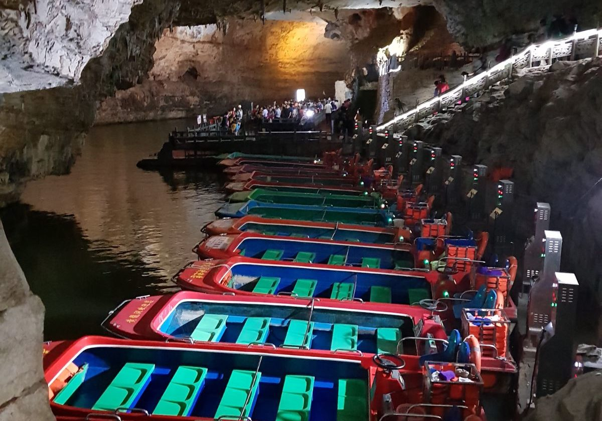 Boat rides along the stream Yellow Dragon Caves Zhangjiajie