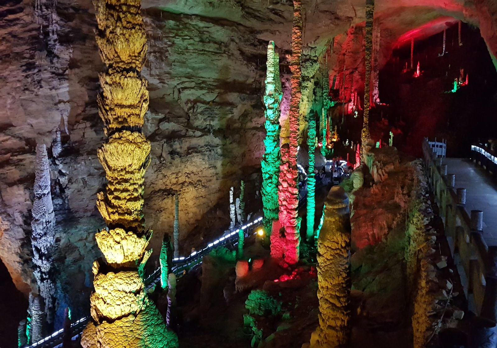 Huanglong Caves at Zhangjiajie are colorfully lit