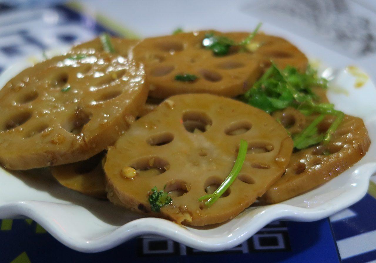 Local grown Lotus stir fry at Zhangjiaji